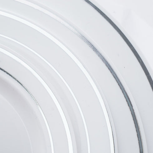 "10 Pack 10"" White Disposable Round Dinner Plates With Silver Rim"