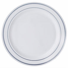 ... 10 Pack 10\  White Disposable Round Dinner Plates With Silver Rim  sc 1 st  eFavormart.com & Disposable Plates | Wholesale Plastic Dinnerware | eFavormart