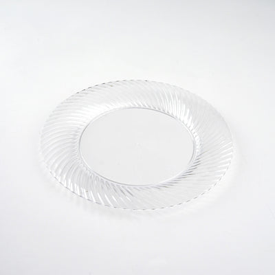 "10 Pack 6"" Clear Twirl Plastic Round Disposable Dessert Plates"