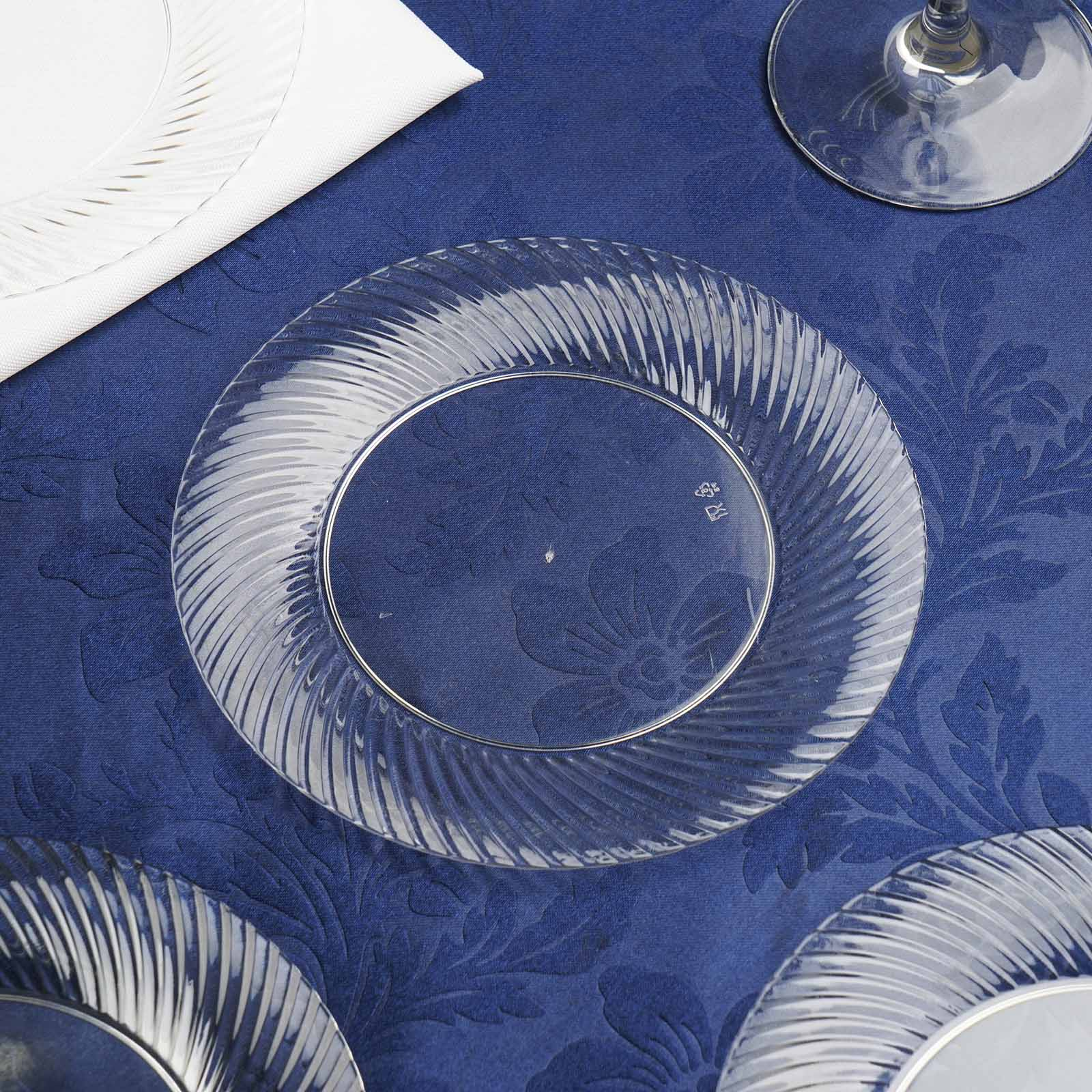 10 Pack 6  Clear Twirl Plastic Round Disposable Dessert Plates & 10 Pack 6