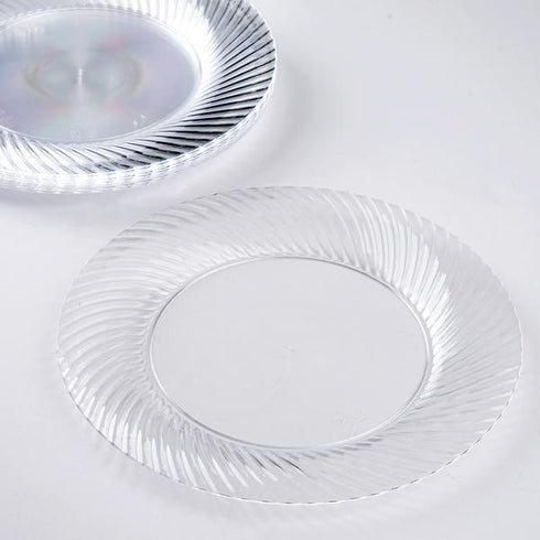 "10 Pack 7"" Clear Twirl Plastic Round Disposable Dessert Plates"