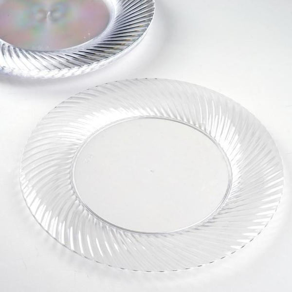 "10 Pack - 9"" Clear Twirl Round Disposable Plastic Dinner Plates"