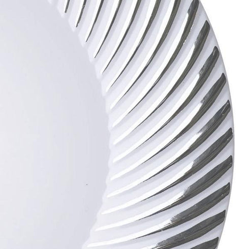 "10 Pack 10"" White Disposable Round Dinner Plates With Silver Twirl Rim"