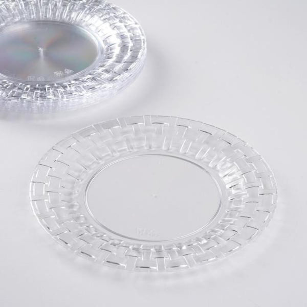 "Set of 10 - 7"" Clear Round Disposable Plastic Salad Dessert Plates With Basketweave Rim"