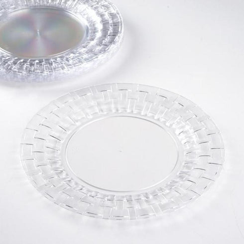 "10 Pack 9"" Clear Disposable Round Dinner Plates With Basketweave Rim"