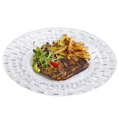 "10 Pack - Clear 10"" Round Disposable Plate - Basketweave Collection"