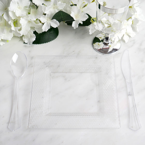 "Set of 10 - 7"" Clear Honeycomb Disposable Plastic Square Salad Dessert Plates"