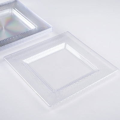 "10 Pack 8"" Clear Disposable Square Salad Dessert Plates With Honeycomb Edge"