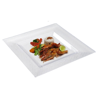 "10 Pack 10"" Clear Disposable Square Dinner Plates With Honeycomb Edge"