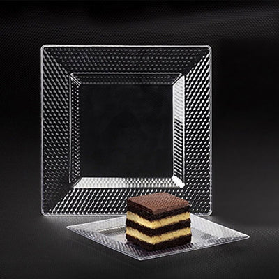 "10 Pack 11"" Clear Disposable Square Dinner Plates With Honeycomb Edge"