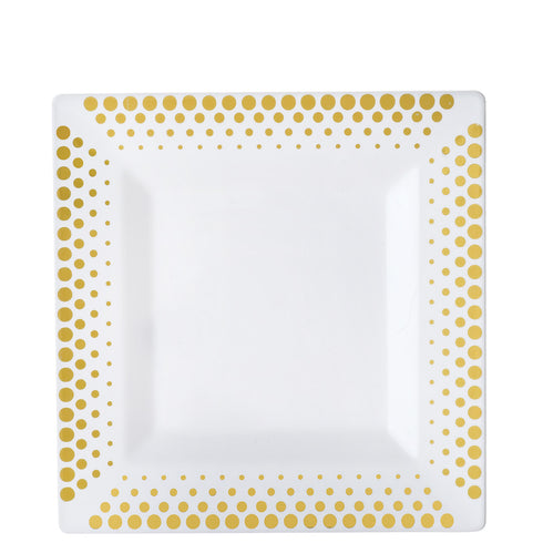"10 Pack 8"" White Disposable Square Salad Dessert Plates With Gold Hot Dots Rim"