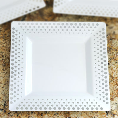 "10 Pack 10"" White Disposable Square Dinner Plates With Silver Hot Dots Rim"