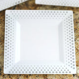 "10 Pack - White with Silver 10.75"" Square Disposable Plate - Hot Dots Collection"