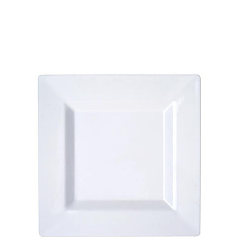 "10 Pack - White 6.5"" Square Disposable Plate - Sorrentine Collection"