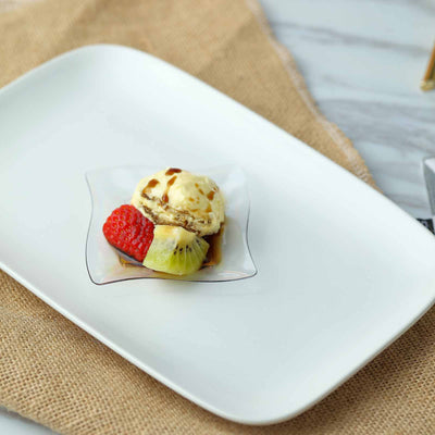 24 Pack 3 White Disposable Square Mini Salad Dessert Plates With