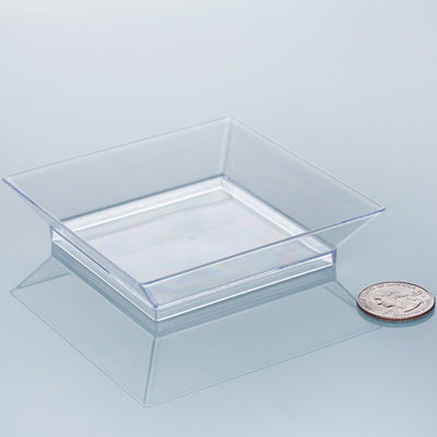 "10 Pack - Clear 3.5"" Square Disposable Plate - Crystal Collection"