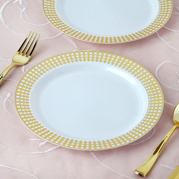 "Set of 10 - 9"" White Round Disposable Plastic Dinner Plates With Gold Hot Stamped Checkered Rim"