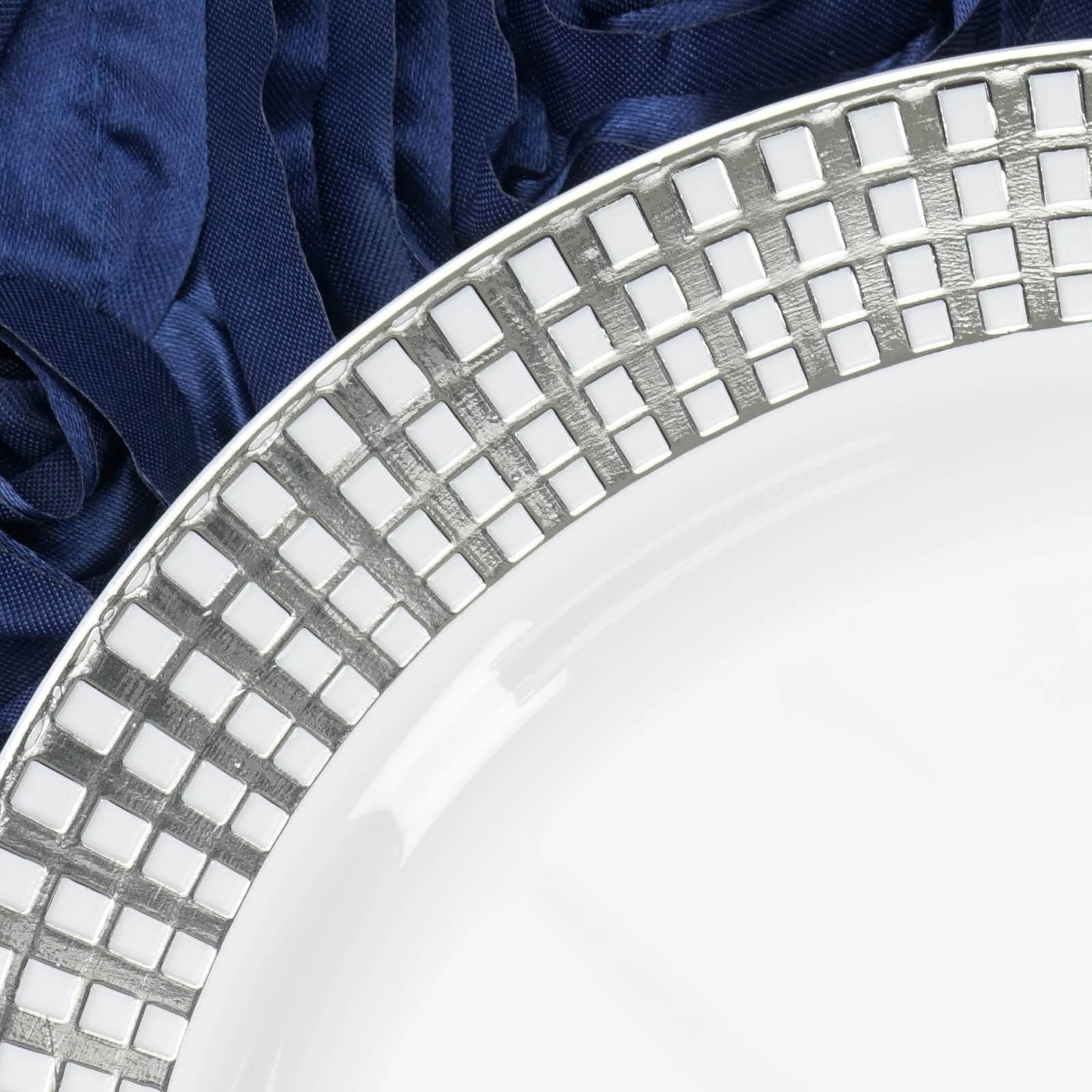 10 Pack 9  White Disposable Round Dinner Plates With Silver Hot St&ed Rim & 10 Pack 9