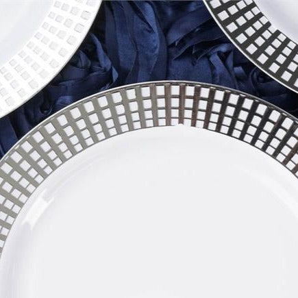 "Set of 10 - 9"" White Round Disposable Plastic Dinner Plates With Silver Hot Stamped Checkered Rim"
