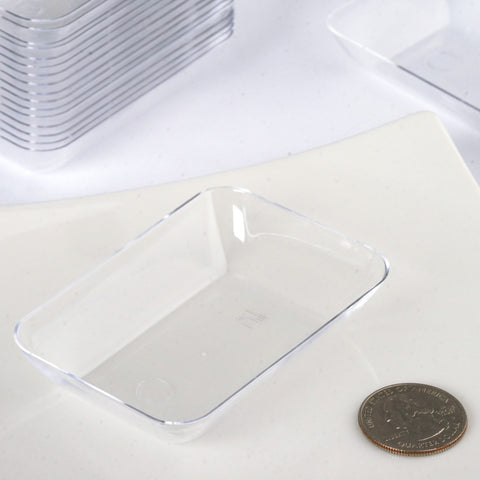 ... 20 Pack - Clear 2\  x 3\  Slick Rectangle Disposable Dessert Plate & 20 Pack 3\