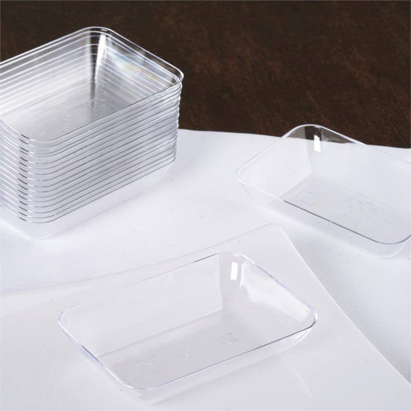 ... 20 Pack - Clear 2  x 3  Slick Rectangle Disposable Dessert Plate ... & 20 Pack 3