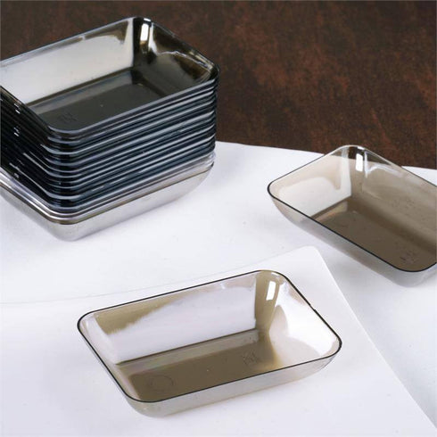 "20 Pack - Silver 2"" x 3"" Slick Rectangle Disposable Dessert Plate"