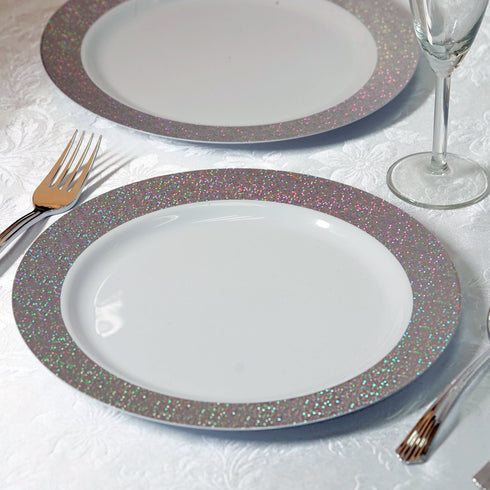 "12 Pack 10"" White Disposable Round Dinner Plates With Shiny Silver Dust Rim"