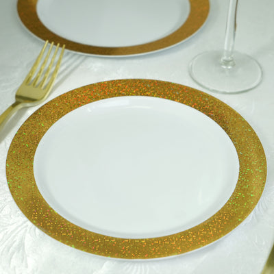 "12 Pack 8"" White Disposable Round Salad Dessert Plates With Shiny Gold Dust Rim"