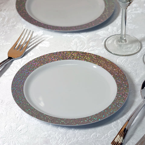 ... 12 Pack 8\  White Disposable Round Salad Dessert Plates With Shiny Silver Dust ... & 12 Pack 8\