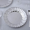 Set of 12 - 9 inch Silver Flared Round Disposable Plastic Dinner Plates