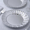 "12 Pack 8.75"" Silver Flared Rim Round Disposable Partytown Plastic Plates For Wedding Party Event Dinnerware"