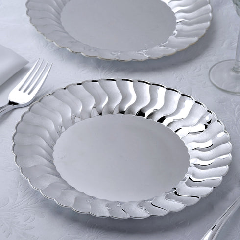 "Set of 12 - 9"" Silver Flared Round Disposable Plastic Dinner Plates"