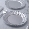 "12 Pack 7.5"" Silver Flared Rim Round Disposable Partytown Plastic Plates For Wedding Party Event Dinnerware"