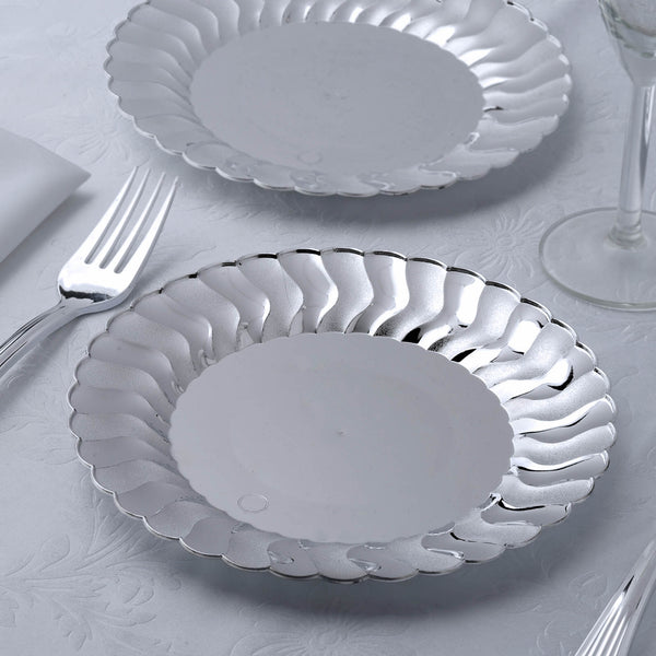 "12 Pack - 7"" Silver Round Flared Disposable Plastic Salad Dessert Plates"