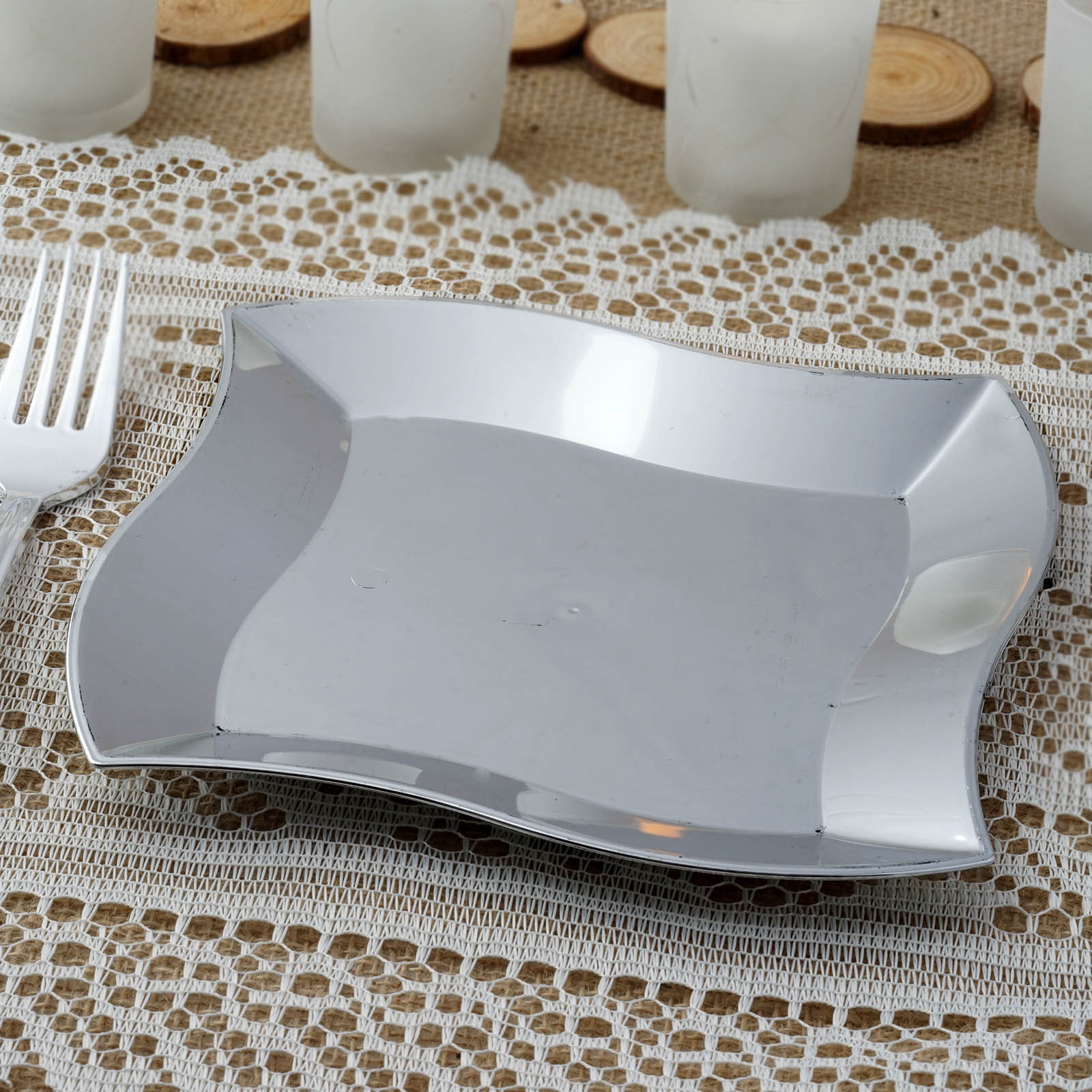 12 Pack 7  Silver Disposable Square Salad Dessert Plates With Wave Trimmed Rim & 12 Pack 7