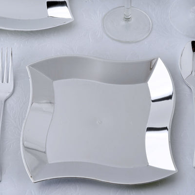 "12 Pack 7"" Silver Disposable Square Salad Dessert Plates With Wave Trimmed Rim"