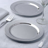 "12 Pack 7.5"" Shiny Silver Round Disposable Partytown Plastic Plates For Wedding Party Event Dinnerware"