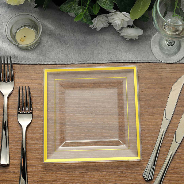 "10 Pack - 7"" Gold-Trimmed Clear Disposable Square Dessert Plates"