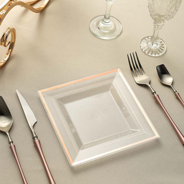 "10 Pack - 7"" Rose Gold-Trimmed Clear Disposable Square Dessert Plates"