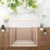Square Dinner Plates With Shiny Rose Gold Rim, Clear Plastic Plates, Party Plates