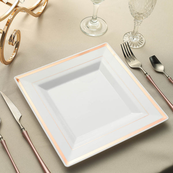 "10 Pack - 10"" White Disposable Plastic Square Dinner Plates With Shiny Rose Gold Rim"