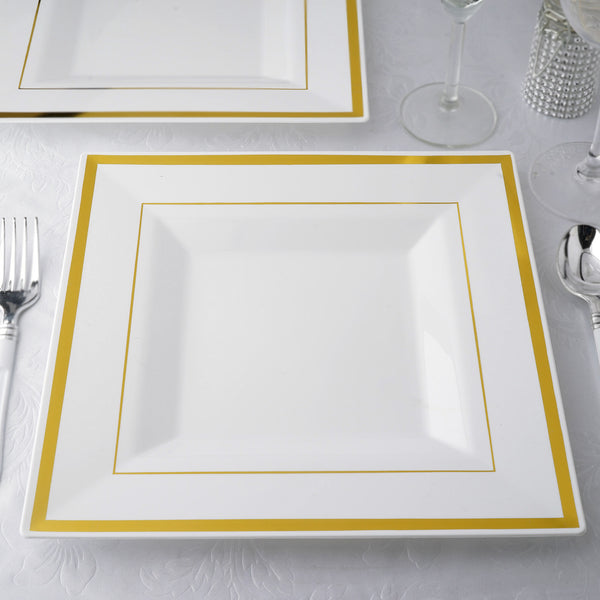 "Set of 10 - 11"" White Disposable Plastic Square Dinner Plates With Shiny Gold Rim"
