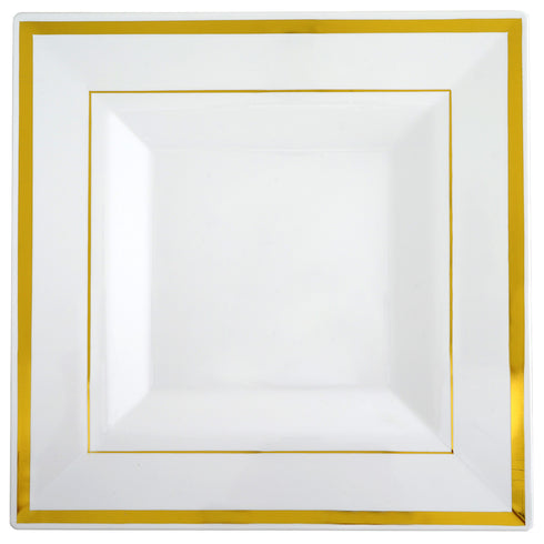 Square Dinner Plates With Shiny Gold Rim, Disposable Plates, Party Plates