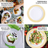 "Set of 10 - 8"" White Round Disposable Plastic Salad Dessert Plates with Gold Striped Rim"