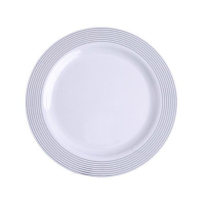 "10 Pack 8"" White Round Disposable Plastic Salad Dessert Plates with Silver Striped Rim"