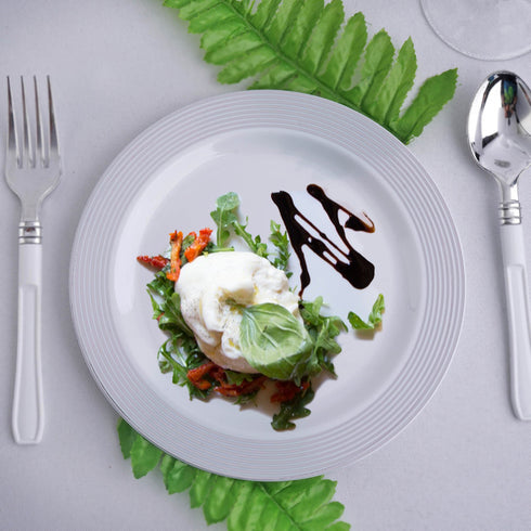 "10 Pack 8"" White Plastic Disposable Round Salad Dessert Plates with Silver Striped Rim"