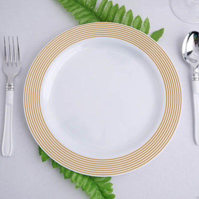 "10 Pack 9"" White Plastic Disposable Round Dinner Plates with Gold Striped Rim"