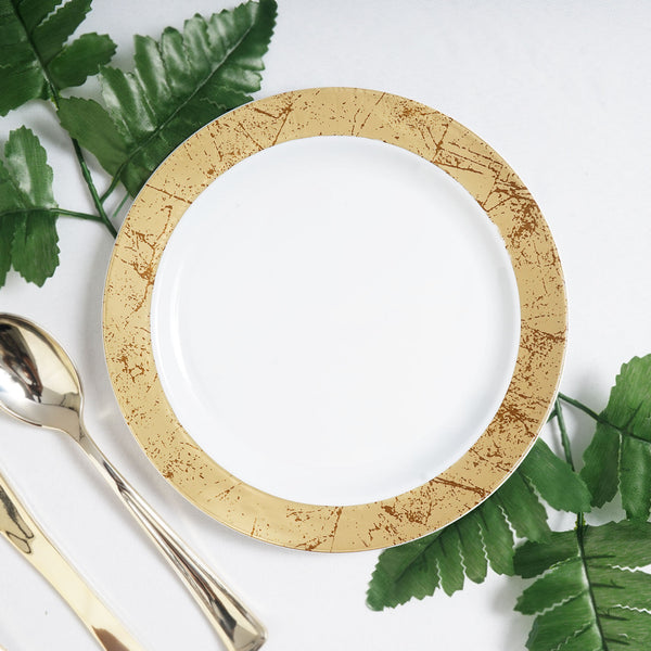 "Set of 10 - 8"" White Round Disposable Plastic Dessert Salad Plates with Gold Marble Hot Stamped Rim"