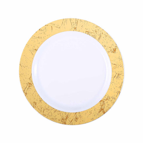 "10 Pack 10"" White Disposable Round Dinner Plates with Gold Marble Hot Stamped Rim"