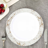 "10 Pack 10"" White Disposable Round Dinner Plates with Silver Marble Hot Stamped Rim"